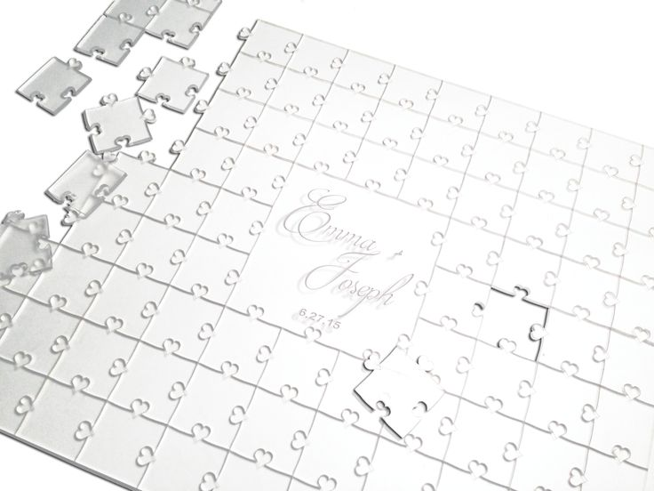 {Custom} Wedding Guest Book Alternative. Clear Acrylic Puzzle with heart tabs. Laser engraved names & date. Have your guest sign a piece of the puzzle and turn this puzzle into a keepsake to remember your special day. {Custom Made} Add more pieces for a larger reception.  {Handmade}