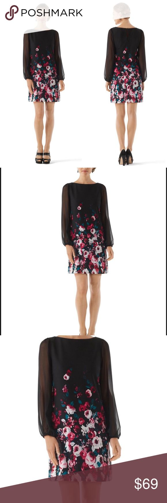WHBM Chiffon Long Sleeve Floral Shift Dress Sz 2  NWT  White House Black Market Chiffon Sleeve Floral Shift Dress Stretch crepe jersey dress blossoms at social occasions, in a floral print of pinks and Lotus teal tumbling from solid black. Long sleeves in shear chiffon blouse romantically gathered at the wrist. Shell: 100% Polyester. Lining: 92/8 Poly/Spandex.  Slightly contoured silhouette  Bateau neckline. Looped covered button in back with keyhole placket above a concealed zip with…