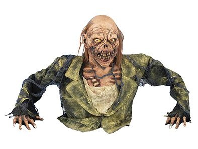 The undead are rising up from the graveyard! The Zombie Ground Breaker Halloween Prop includes latex head, arms, and torso, red LED light-up eyes, and a battery pack. Measures 36 inches x 27 inches x 12 inches.