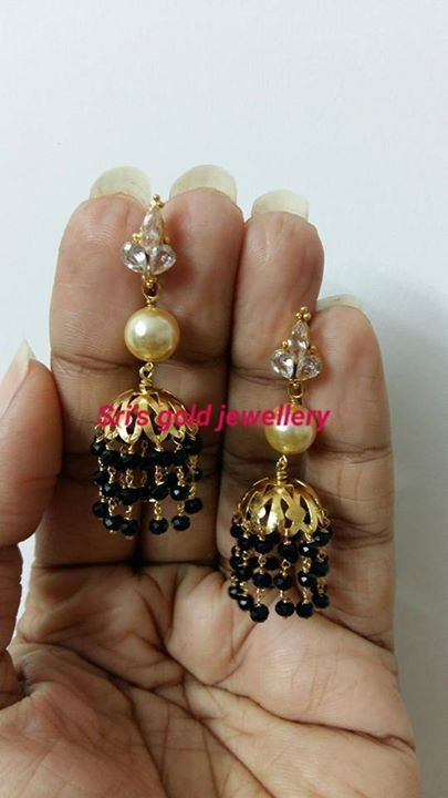 Black bead matching earrings