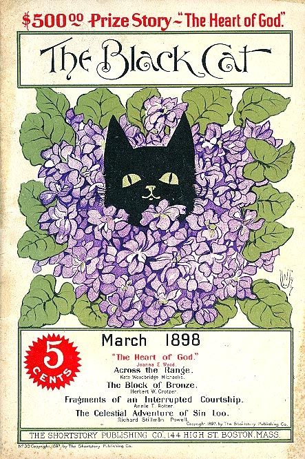 "Black Cat Magazine cover March 1898 by Nellie Littlehale Umbstaetter.  The Black Cat (1895–1922) was an American literary magazine published in Boston, Massachusetts.  It specialized in short stories of an ""unusual"" nature."