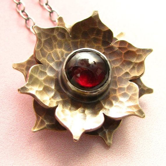 Garnet Lotus Necklace - Lotus Garnet Necklace - Gemstone Sterling Silver And Bronze Mixed Metal Metalsmith Jewelry - Gemstone Jewelry