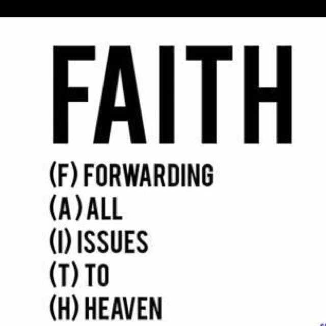 wow: Faith = Forward All Issues To Heaven?! how generous of humans to throw all their shit onto God's back! does a god not have enough to do, to control 7Billion people & all of the universe beside our miserably b.s.-infested human planet?! how insulting of us to pile more shit on Him. At what point do we grow up & take responsibility for our own actions?! God gave us a Mind to think, not wait for Destiny! Write your own plan!