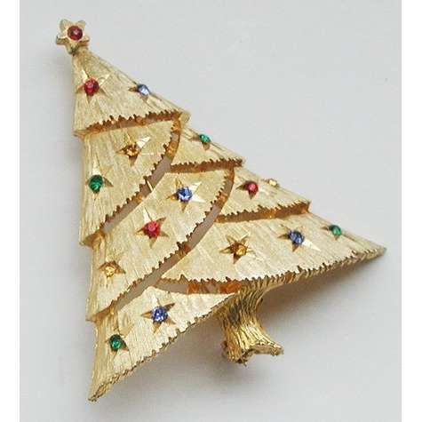 Vintage JJ Christmas Tree Pin Brooch With Rhinestones