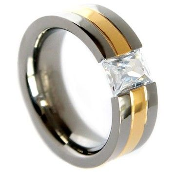 Goldsmith Gold Unisex IP Titanium Band Brilliant Cubic Zirconia Centerpiece 6mm (Sizes 5-8)-8mm (Sizes 9-14) Plus Half Sizes Free Shipping
