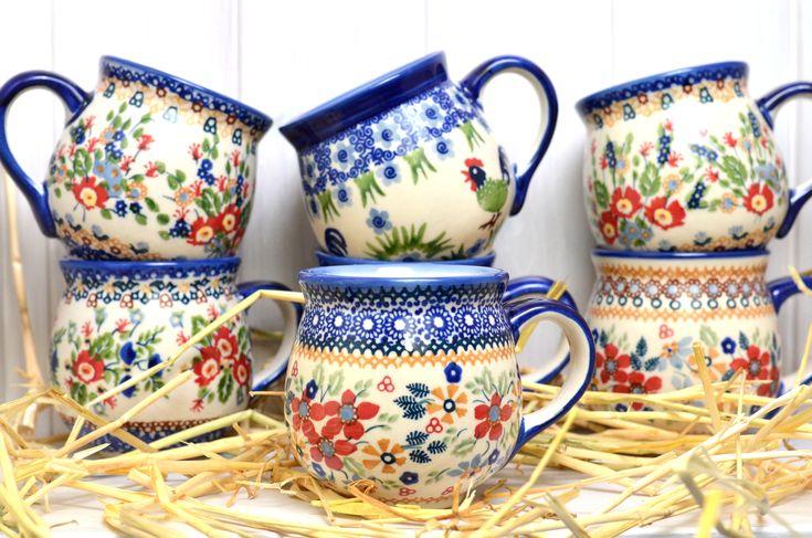 Bunzlauer Keramik Becher 0.35l - HomeMode.de - Bunzlauer Keramik Geschirr und Dekoration Polish Pottery mugs - 0.35l / 12 oz