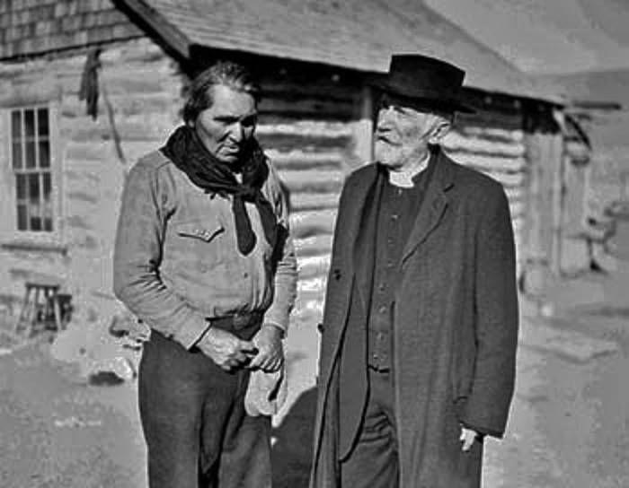 HENRY LEE TYLER (N.ARAPAHO) WITH REV.JOHN ROBERTS , circa 1940