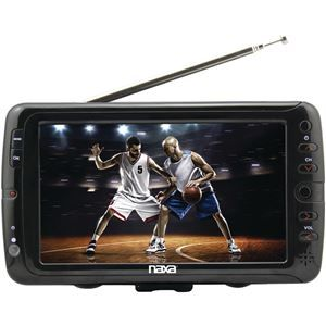"Naxa 7 Portable Tv Digital Multimedia Player   7"" Tft LCD Display 800 X 480 Resolution Atsc and ntsc Tuner Additional Antenna For Enhanced TV Reception Built-in Rechargeable Battery Provides 1.5 Hours Of Playtime Built-in Stereo Speakers Inputs: 2 A and V, USB, Sd Card, 3.5mm & External Antenna Supports Jpeg, Mp3, Mpeg-2, Mpet2-hd, Mpeg4, Mpeg4_sd, Mpeg4_hd, H.264 & Flv Ac Power Adapter, Dc Car Adapter & Rechargeable Battery 3-way Power"