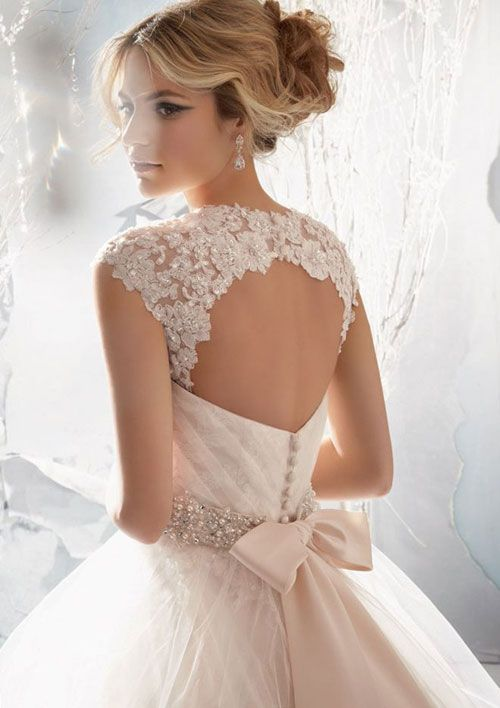Wedding dress back shoulder detail and open back perfect with a bow at waist. ♡ Mori Lee #1959