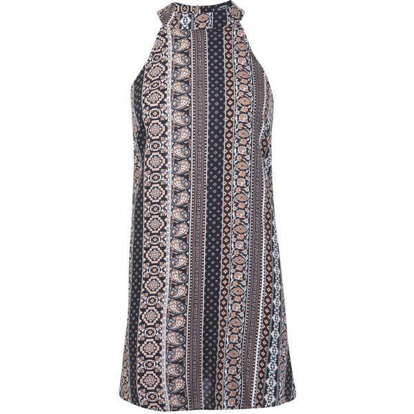 Miss Selfridge Petites Aztec High Neck Dress ($18) ❤ liked on Polyvore featuring dresses, black, petite, miss selfridge, aztec dress, print dress, viscose dress and petite dresses
