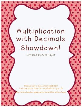 Freebie! Cooperative learning multiplying decimals activity.
