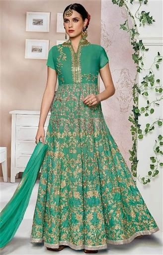 Shop this hilarious forest green stand collared designer anarkali suit. This dress has stand collared neck, short sleeves, thread, embroidery, zari & lace work.