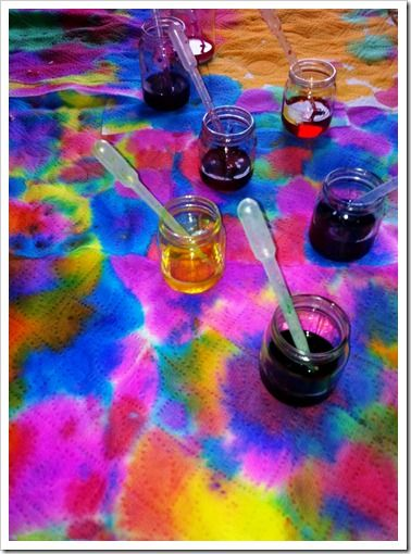 cover long table in aluminum foil, cover in a layer of paper towel let children use pipettes and liquid water colors to create