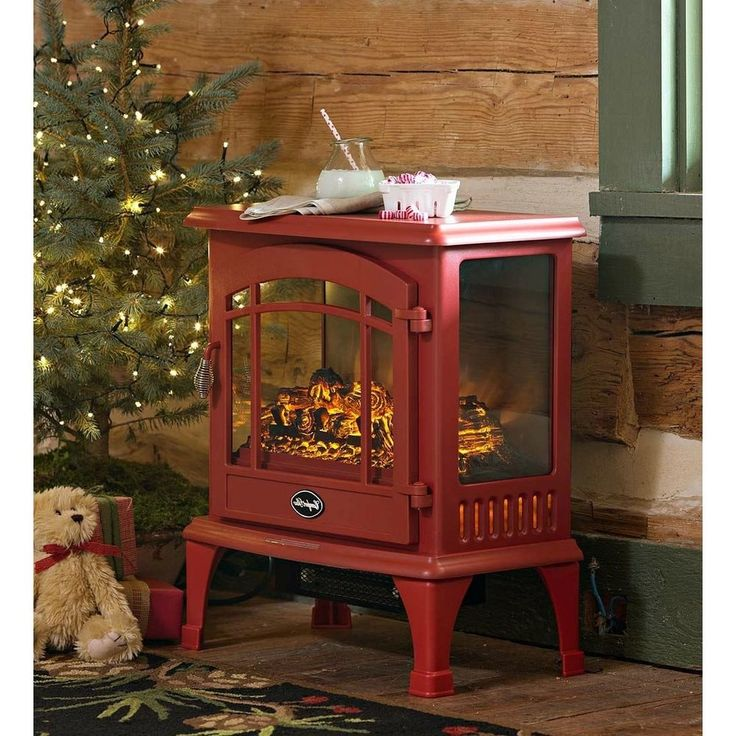 Electric Stove Space Heater Amish Style Fireplace Portable 1000 Ft Zone Red NEW…