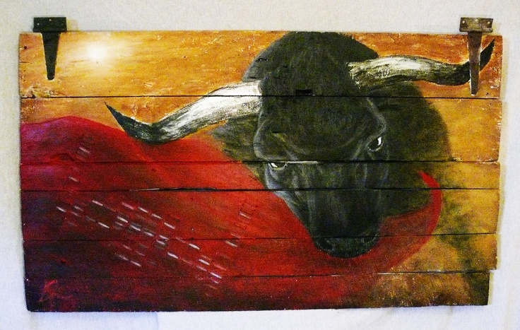 """Toro Toro"" A painting of actual bulls DNA. 60x35 mixed media on antique barn wood door. Booklet included with actual lab work, story and pictures of event surround the collection of DNA sample from a cattle farm! Message for purchasing, this is for sale!"