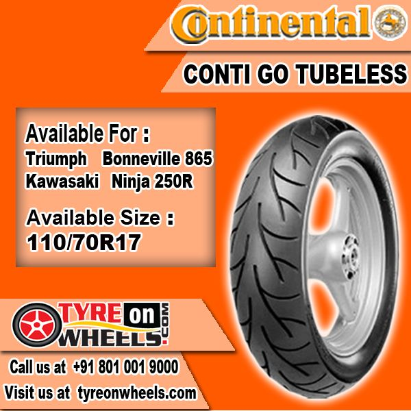 Buy Tyres Online of Continental Conti Go Tubeless Tyres of Bike for Kawasaki Ninja 250R Size 110/70R -17 at Guaranteed Low Prices Buy at http://www.tyreonwheels.com/biketyre/Continental/CONTI-GO/9124