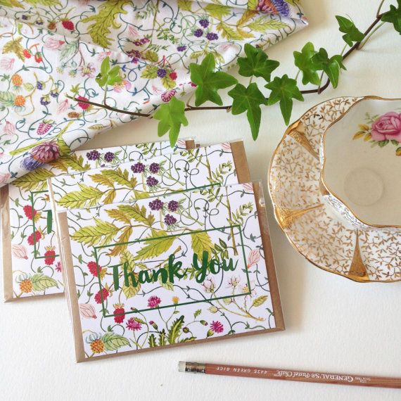 Thank You Card  A2  Watercolour Note Card with by strawberrysnail