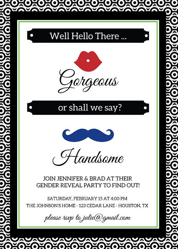 charm bracelet Well Hello There Gorgeous   or shall we say Handsome  Cute lips and mustache themed gender reveal party invitation