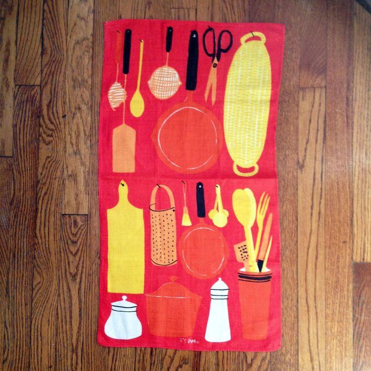 Vintage Vera Neumann Red Kitchen Utensils Linen Tea Towel