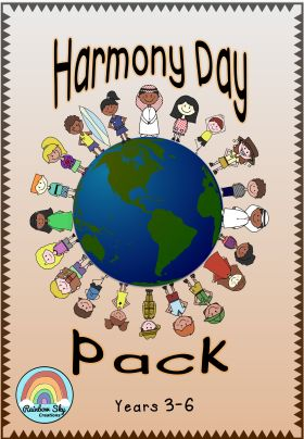 Harmony Day Primary Activity Pack. These resources are designed to encourage students to think about the core values of Harmony Day and how they can contribute to a happier and peaceful world. ~ Rainbow Sky Creations ~