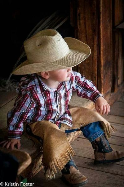 """Little Cowboy: """"Saddle up my pony, 'Stable Lad!'  I'm patiently waiting!"""""""