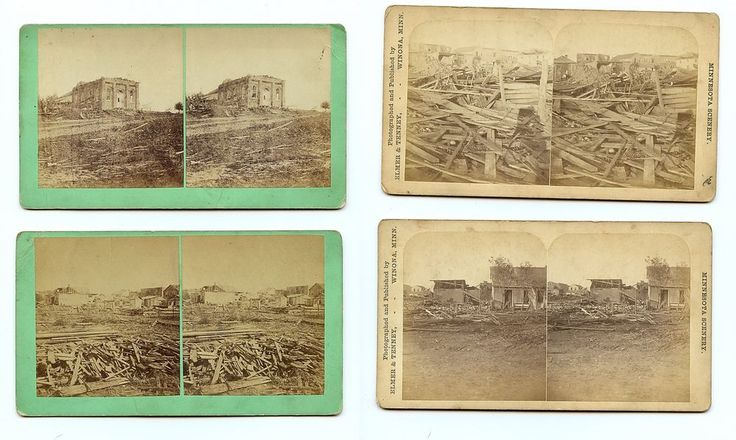 Antique New Ulm Minnesota Cyclone July 15, 1881 Stereoview Card Lot of 4