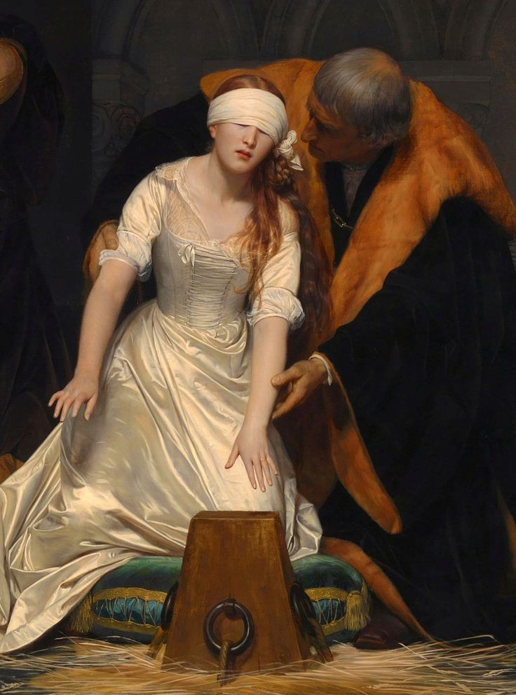 Detail -The Execution of Lady Jane Grey is an oil painting by Paul Delaroche completed in 1833 - Location	National Gallery, London -