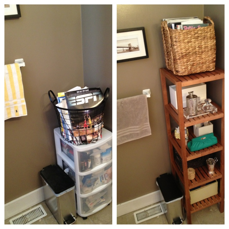 Before and after. Bathroom organization with Ikea Molger shelves.