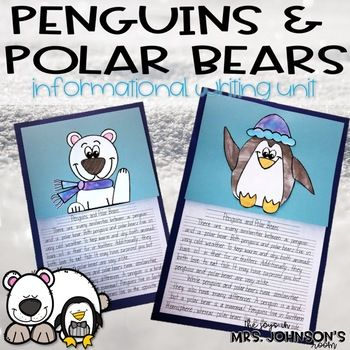 Explore facts about penguins and polar bears with this writing unit and art activity! This pack includes: 5 plus days of writing plans KWL Graphic Organizer Penguin and Polar Bear Fact Organizer Compare and Contrast Graphic Organizer Informational Pre-write Outline (2 differentiated options) Final Draft Lined Paper ( 2 options) Grading Rubric Penguin Coloring Sheet Polar