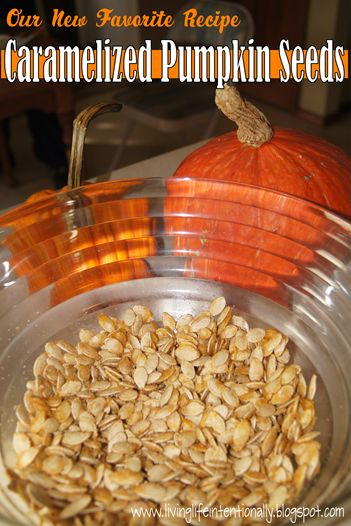 Our new Favorite Fall Snack - Caramelized Pumpkin Seed Recipe! This is the BEST recipe for those leftover pumpkin seeds!