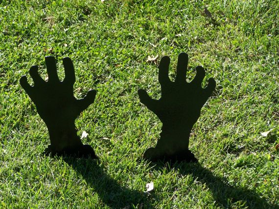 Zombie Hands Halloween Yard Decorations. by FOXHOLLOWMETALWORKS