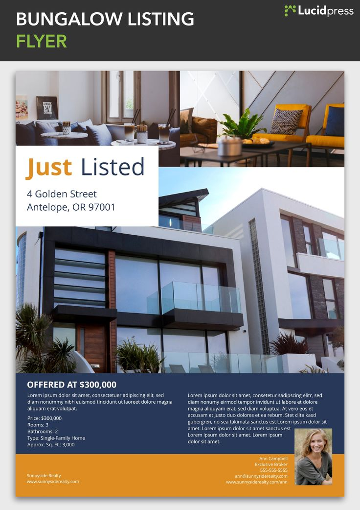 Bungalow listing digital print flyer template