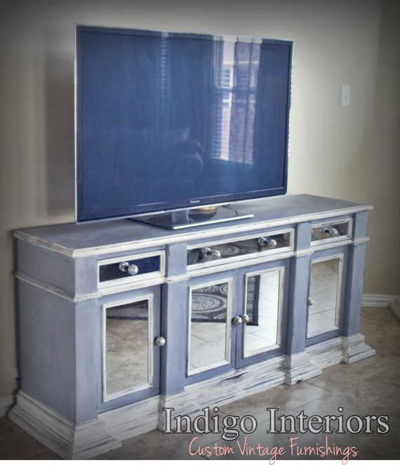 Vintage gray blue and white mirrored buffet tv stand White tv console