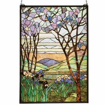 Meyda Tiffany 98589 Tiffany Magnolia & Iris Stained Glass Window