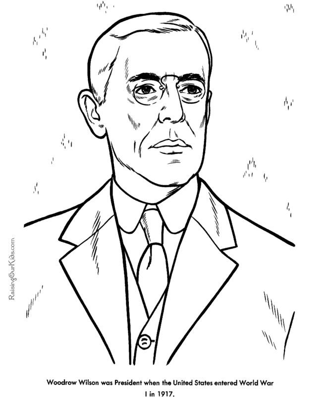 Free Printable President Woodrow Wilson Facts And Coloring Picture