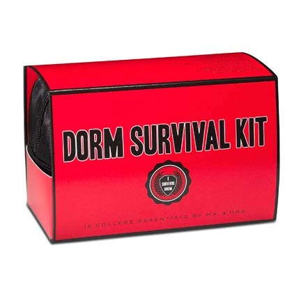 Dorm Survival Kit: put your own together.  This one  contains these must-haves:  Book light, caffeine gum, eye mask, ear plugs, first aid kit, thermometer, laundry bag, laundry instructions, mending tape, air freshener, screwdriver, poster adhesive...whatever you think the kid might need to survive dorm life. Great gift for a HS graduate!