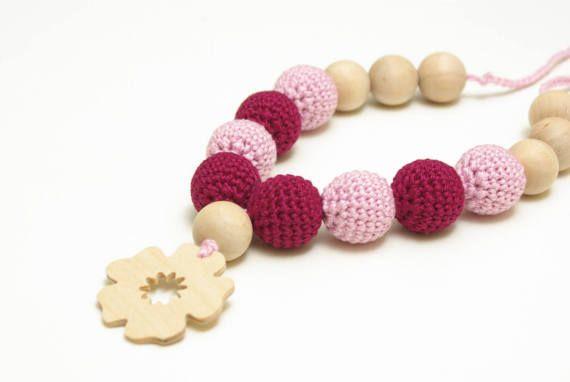 Crochet nursing necklace teething necklace breastfeeding