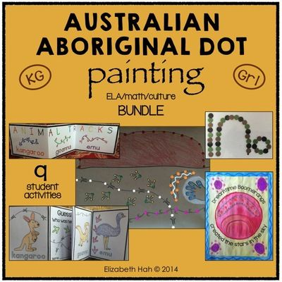 Australian Aboriginal Dot Painting: Art, ELA, Math & Culture BUNDLE from Liz's Early Learning Spot on TeachersNotebook.com - (31 pages) - This Australian Aboriginal Dot Painting pack contains 9 fun and easy activities for Kindergarten/Grade 1 students to incorporate literacy, math and cultural studies with art.