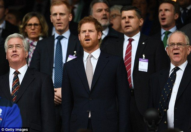 This afternoon, Prince Harry was spotted at Twickenham Stadium, London, where he was watching the Six Nations match between England and Scotland. Pictured singing the national anthem