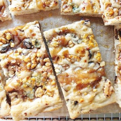 Fig, Walnut, Caramelized Onions, Blue Cheese & Honey Focaccia