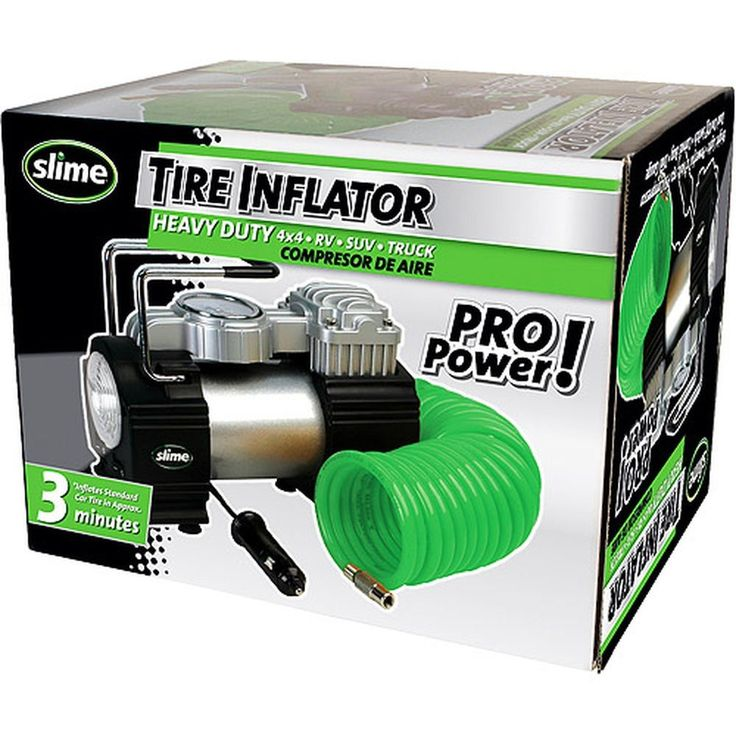Heavy Duty Portable 12 Volt Tire Inflator With Air Hose Gauge 150 PSI Compressor #Slime