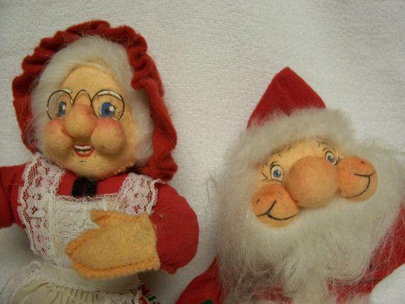 Santakins Christmas Dolls Santa and Mrs  by FabVintageEstates, $19.50