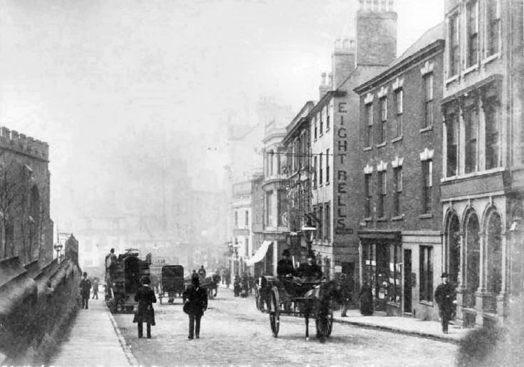 St Peter's Gate, Nottingham, c 1888, looking towards St Peter's Square.
