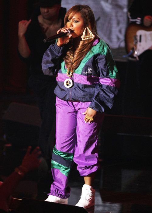 Door knocker earrings and four finger rings are two of our favorite accessories. She's so hip-hop at the 2006 VH1 Hip Hop Honors. [Photo: Getty Images]