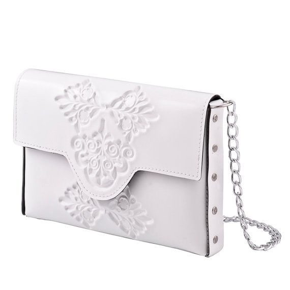Bridal clutch bag / white clutch purse / vegan and proud / clean white clutch / embossed white vinyl / tuckable chain strap / all handmade
