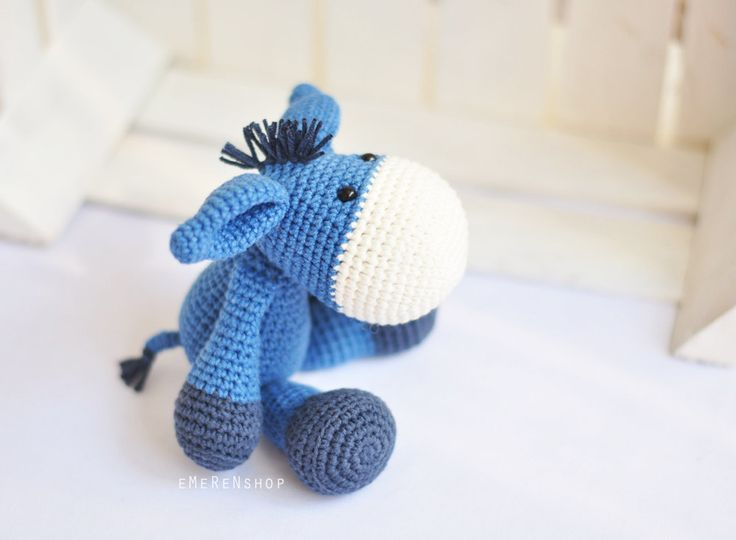 Blue Crochet Amigurumi Donkey, Handmade amigurumi donkey, an excellent stuffed animal toy for children. by EMERENstore on Etsy