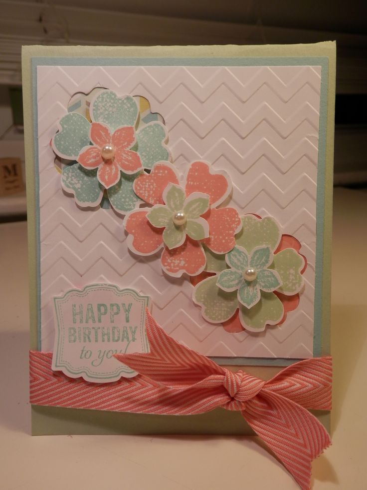 Stampin' Up! Flower Shop, pansy punch, Petite Petals, chevron embossing folder; Ocassions mini project