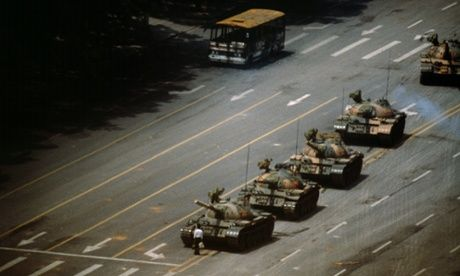 The 'Tank Man' stopping the column of T59 tanks on 5th June 1989 at Tianenman Square