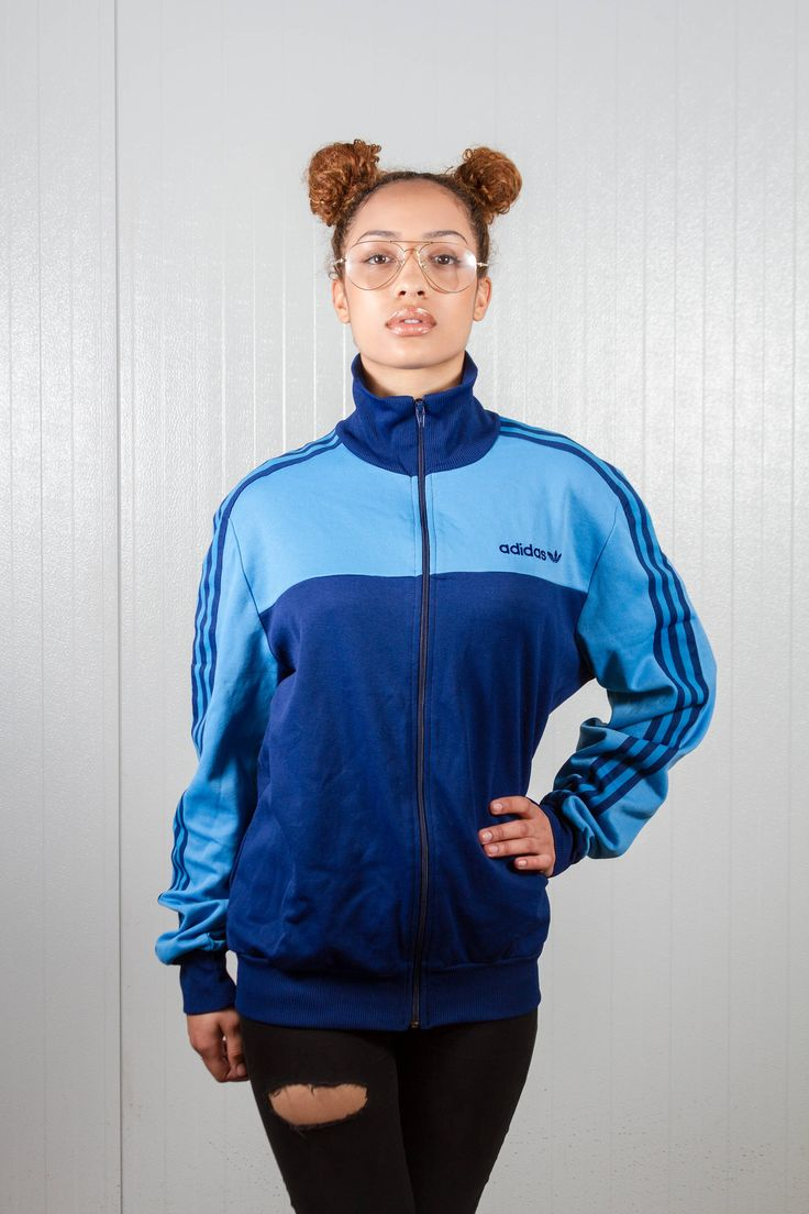 70s vintage Adidas jacket. Shop it here: https://www.etsy.com/nl/listing/529054917/blauw-vintage-adidas-jas-70s-adidas