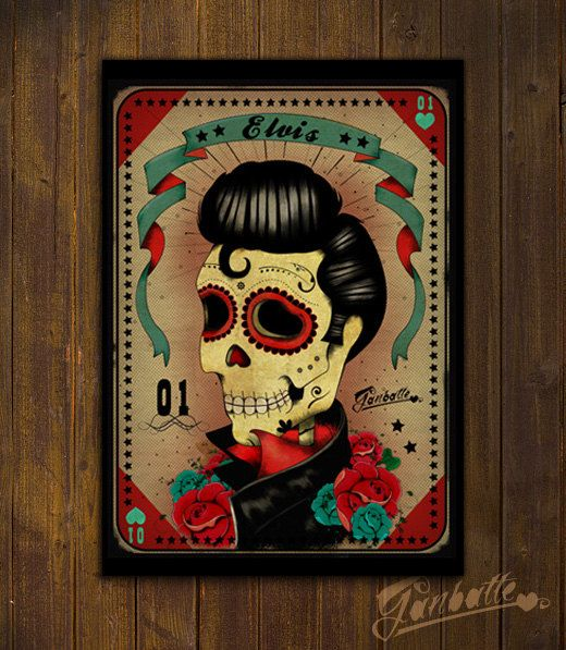 Elvis presley skull calaca sugar skull day of the dead print of original illustration by ganbatte usd by ganbatte
